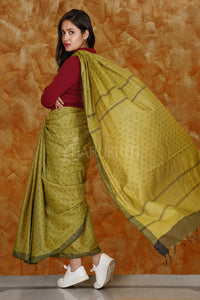 DIJON YELLOW KORA SILK SAREE WITH WOVEN DESIGN