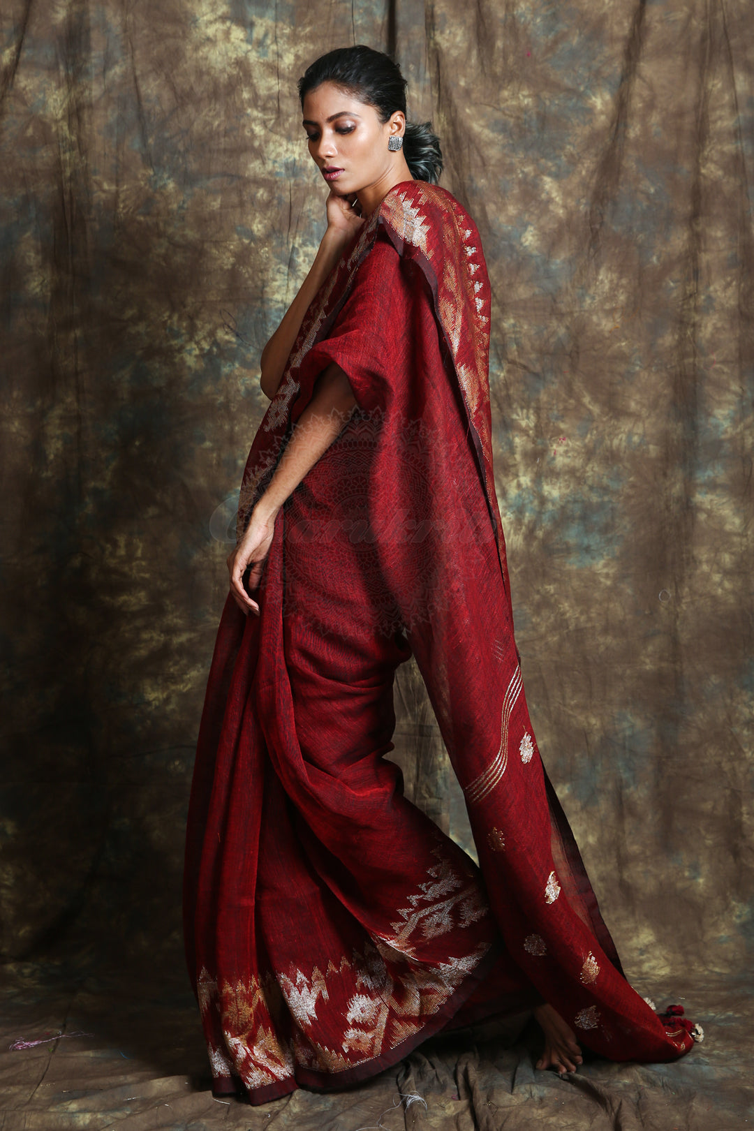 Dark Red Linen Saree With Broad Weaving Border