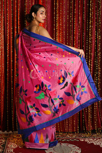 PINK BLENDED SILK SAREE WITH MULTICOLOR EMBRROIDERY WORK AND TEMPLE BORDER