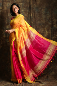 Yellow Patli Pallu Handloom Saree