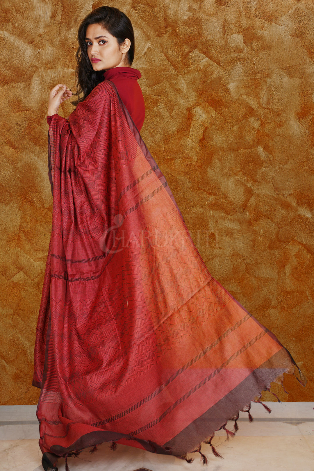 RED KORA SILK SAREE WITH WOVEN DESIGN