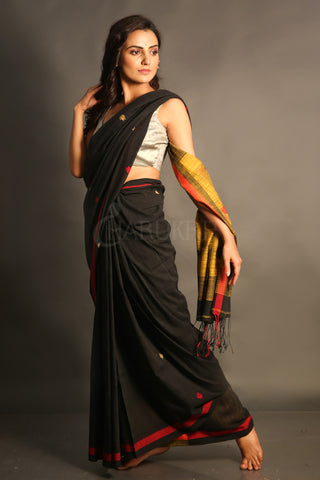 Dual Border Black Cotton Saree With mustard Pallu