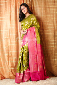 Olive Green Dupion Silk with Rich Border And Pallu - Charukriti.co.in