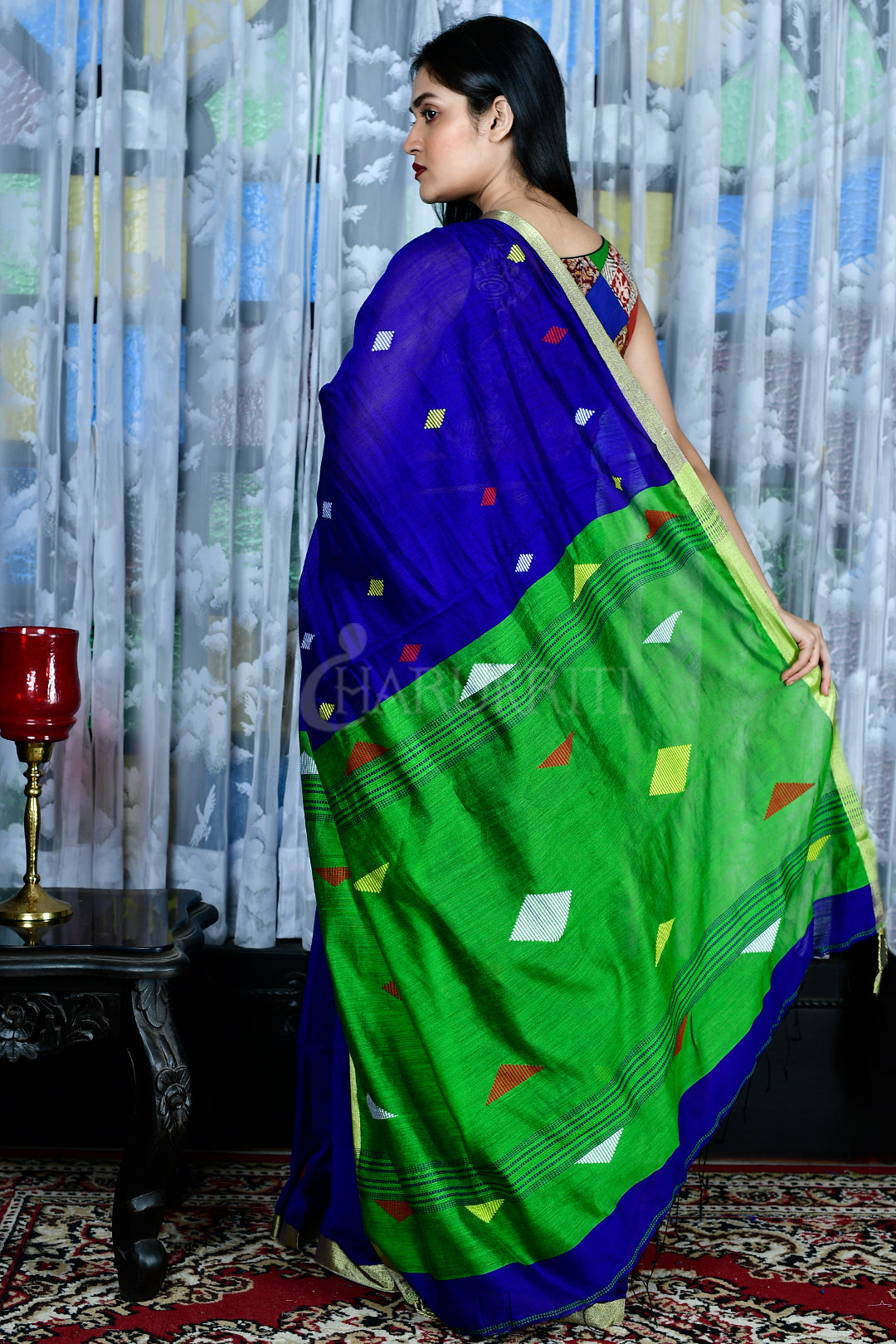 ROYAL BLUE  BLENDED COTTON SAREE WITH GREEN PALLU