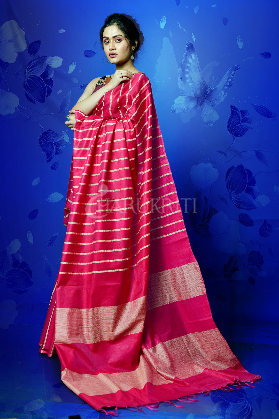 DEEP PINK BLENDED COTTON SAREE WITH GHICHA PALLU