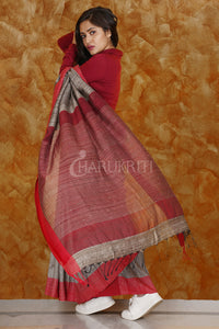 GREY PURE GHEECHA WITH RED BORDER
