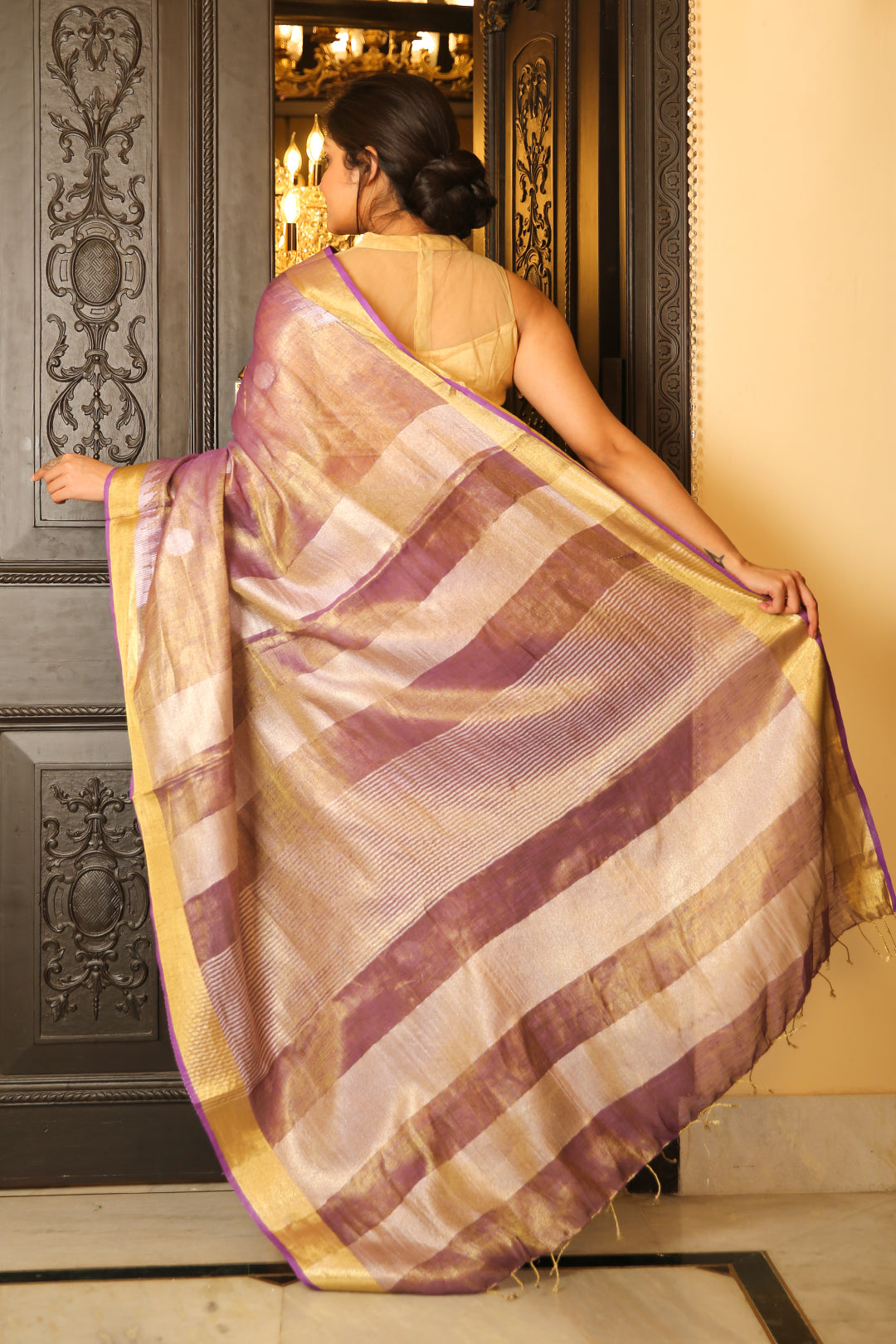 Mauve Tissue Linen Saree With Zari