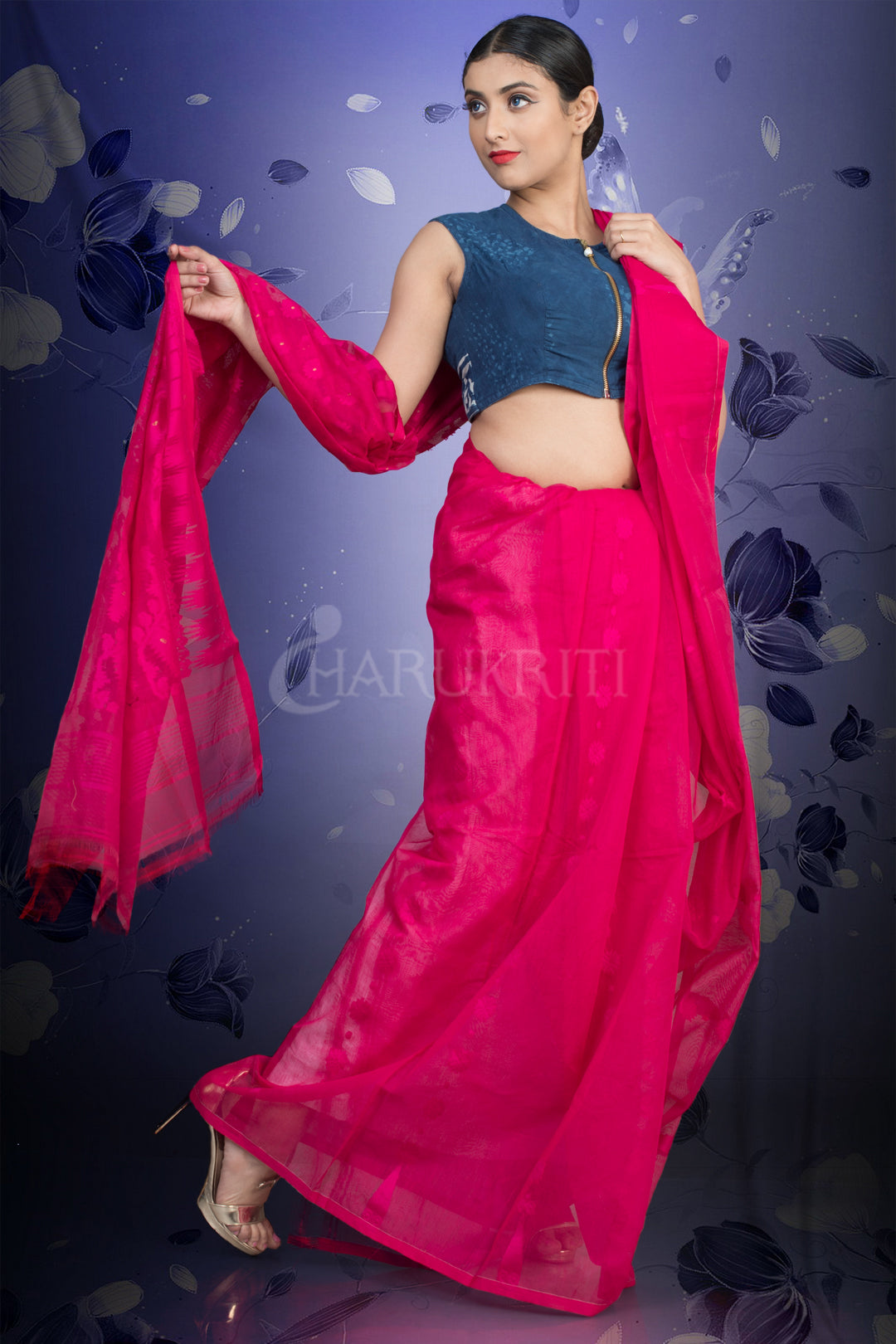 MAGENTA JAMDANI SAREE WITH THREAD WEAVE