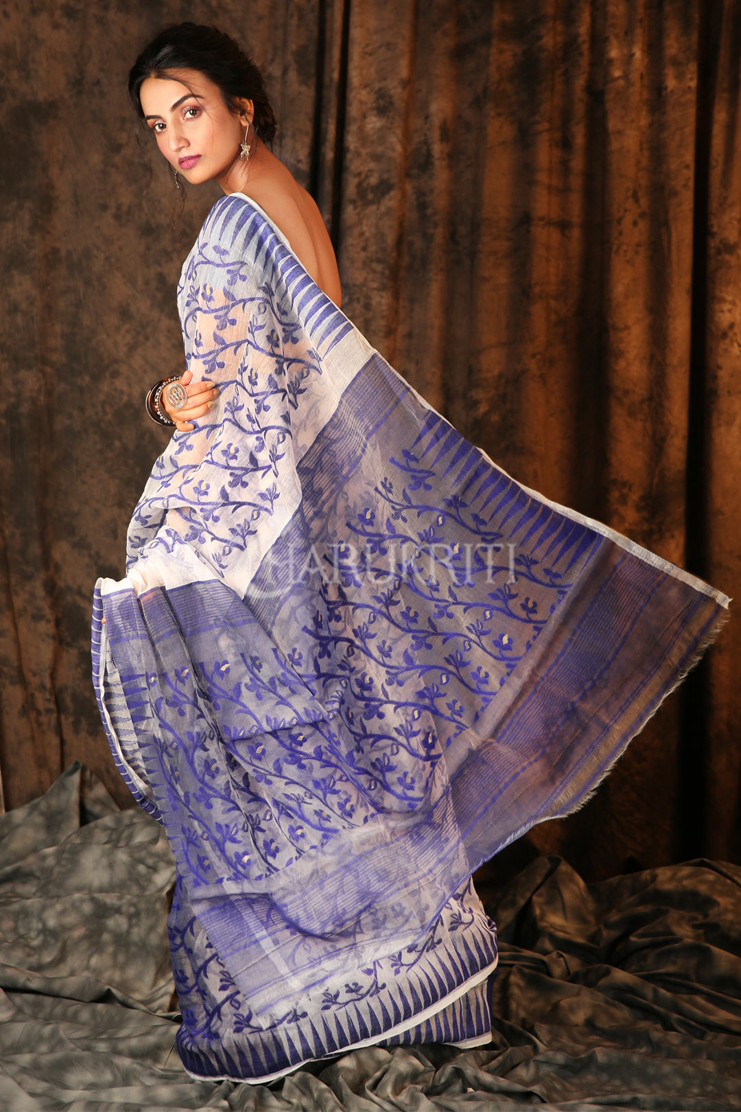 WHITE AND BLUE JAMDANI WITH ALL OVER THREAD WEAVE