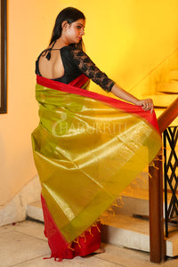 Olive Chanderi Silk Saree With Red Border And Zari Pallu - Charukriti.co.in
