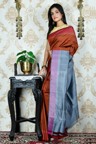 BROWN ALL OVER WEAVED KATAN SILK SAREE WITH STEEL GREY  PALLU
