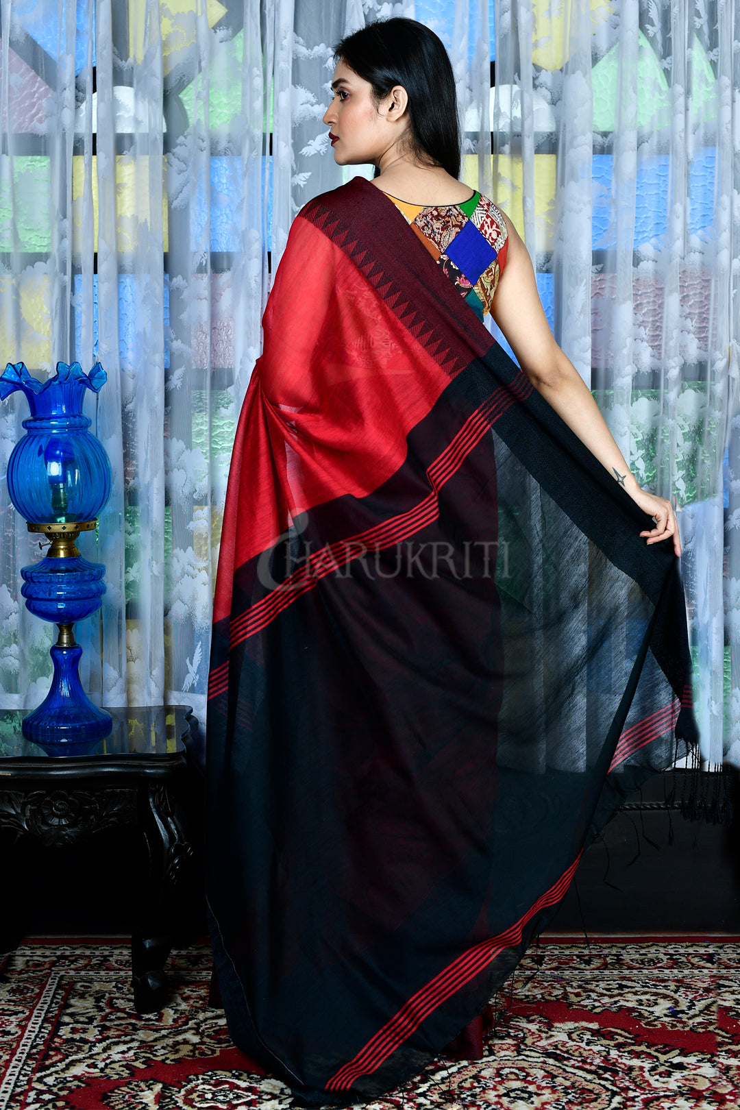 CRIMSON RED BLENDED COTTON SAREE WITH BLACK TEMPLE BORDER