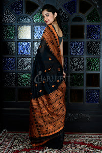 BLACK BLENDED MATKA WITH YELLOW EMBROIDERED PALLU AND BORDER