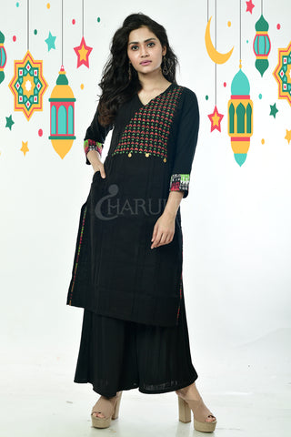 Black Kantha Embroidered Cotton Kurti