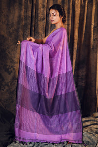 PURPLE COTTON BLENDED LINEN SAREE WITH STRIPES PALLU