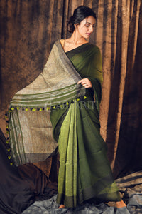 JUNIPER GREEN PURE LINEN SAREE WITH GHEECHA PALLU