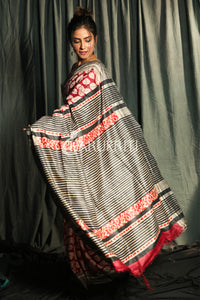 RED & GREY PURE GHEECHA SAREE WITH LEAF PRINTED DESIGNS