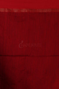 WHITE AND RED IKKAT WEAVING BLENDED COTTON SAREE WITH ZARI PALLU