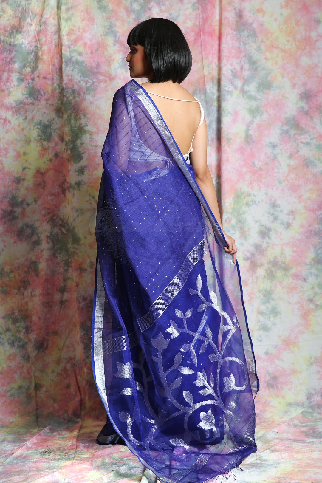 Blue Resham Sequine Saree With Rich Pallu