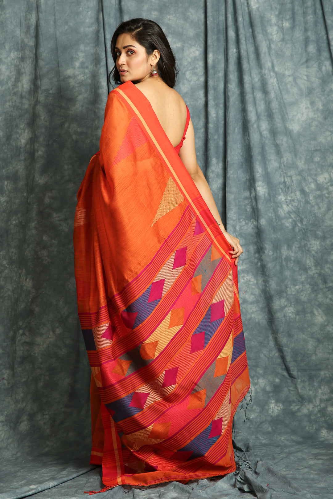 Temple Design Orange Handloom Saree With Weaving Pallu