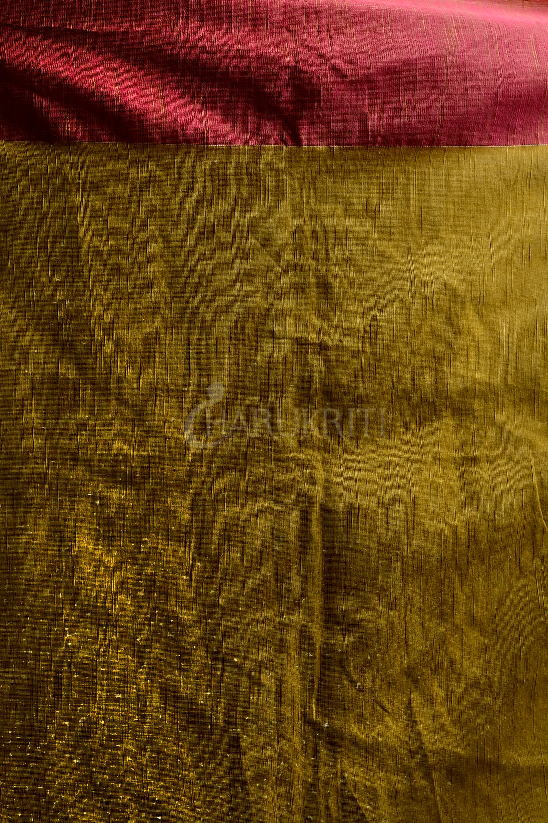 MUSTERED YELLOW PURE COTTON SAREE WITH DUAL BORDER AND WOVEN PALLU