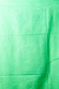 Pulsar Pink And Parrot Green Blended Cotton Saree With Ghicha Stripes - Charukriti.co.in