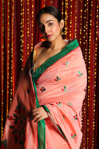 PEACH BLENDED SILK SAREE WITH MULTICOLOR EMBRROIDERY WORK