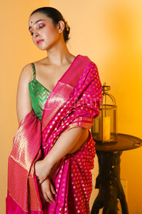 MAGENTA CHANDERI SILK SAREE WITH ALL OVER ZARI BUTA