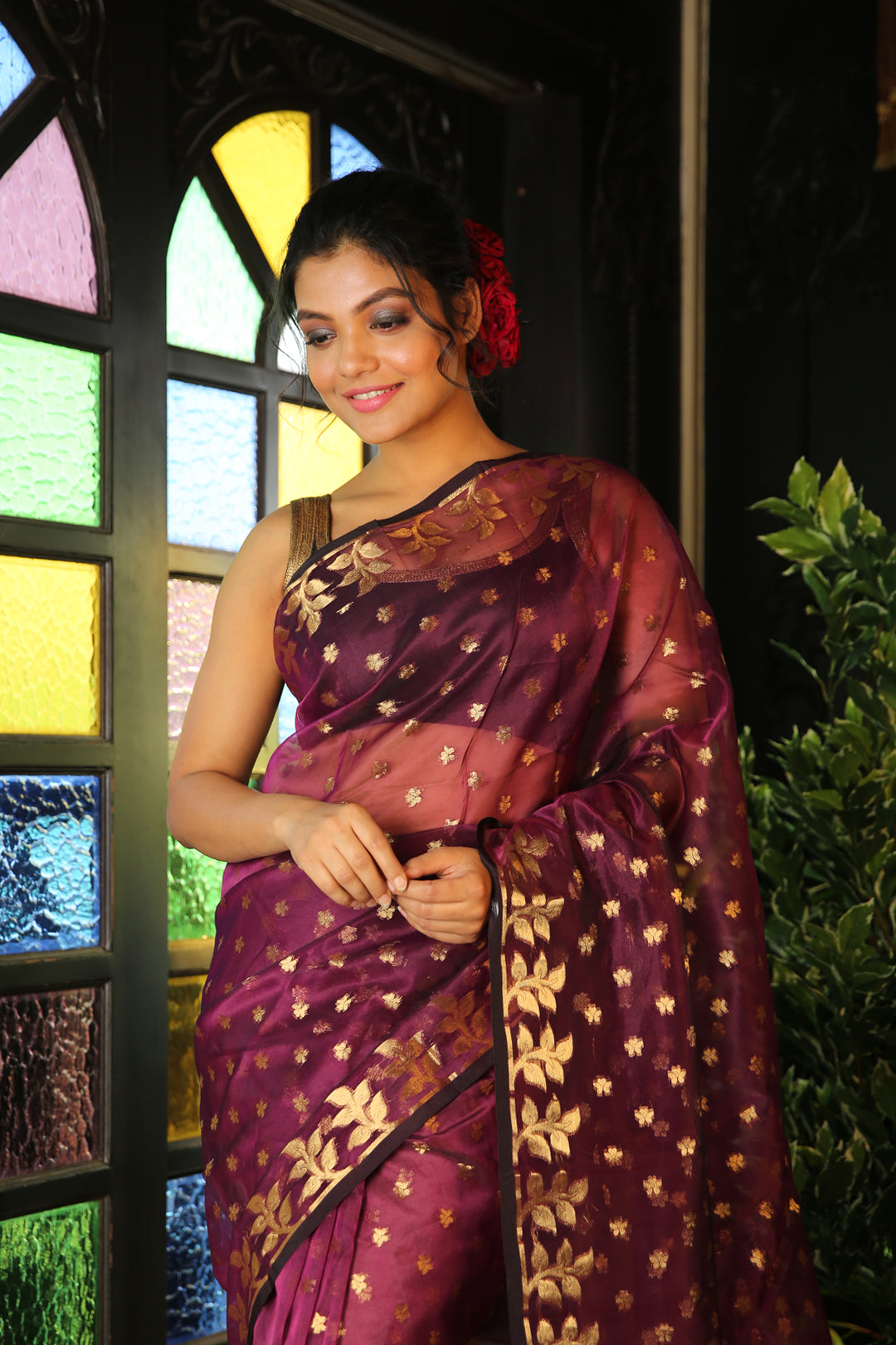 Purple Makhlin Jamdani Saree With Allover Zari Woven