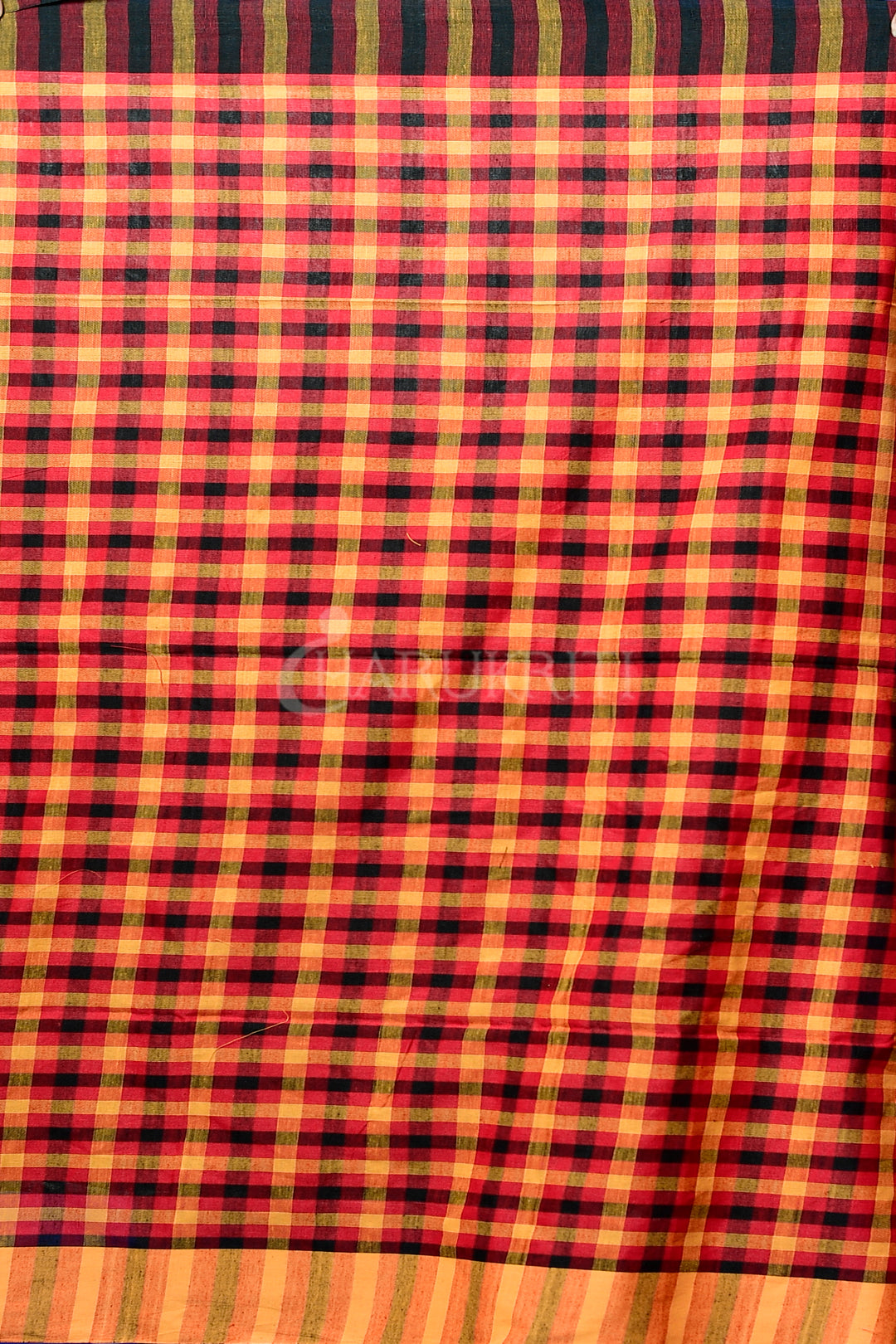 MAROON AND BLACK CHECKERED COTTON SAREE WITH POMPOM