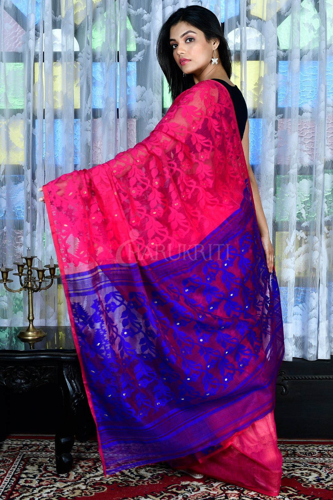 FUCHSIA PINK AND ROYAL BLUE JAMDANI WITH THREAD WEAVE