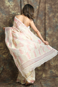 Allover Rich Weaving Off White Jamdani Saree