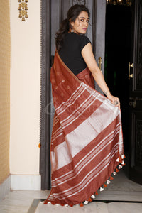 CHOCOLATE COTTON BLENDED LINEN SAREE WITH SILVER BORDER AND COIN BUTA