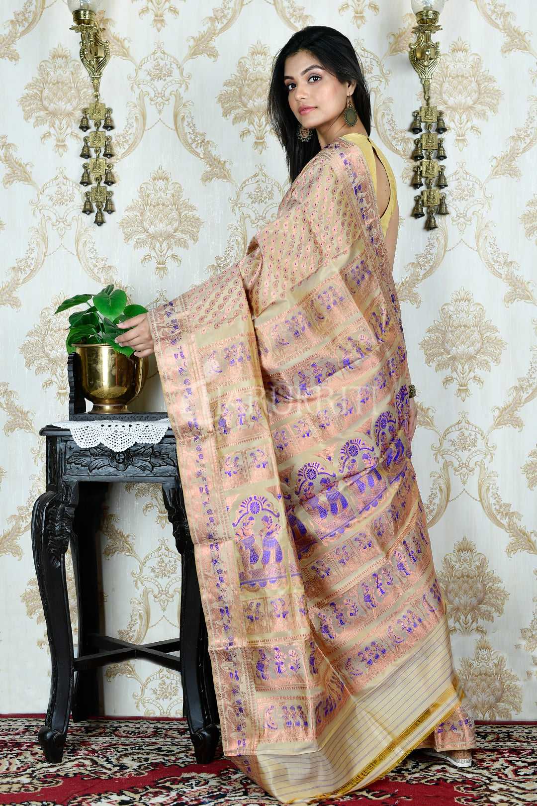 SEPIA BALUCHARI WITH COPPER THREAD ALL OVER WEAVING