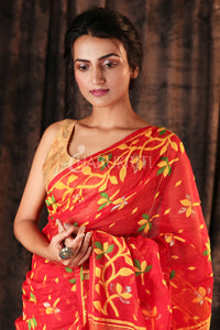 RED SMALL BUTTA JAMDANI WITH FLORAL BORDER AND PALLU