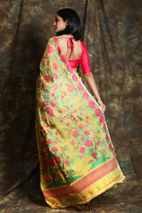 Yellow Jamdani Saree with Allover Floral Weaving