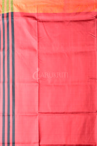BLACK WOVEN KATAN SILK WITH RED PALLU AND MOSS GREEN BORDER