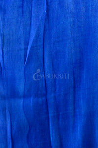 SKY BLUE AND GREEN FLORAL PRINTED COTTON BLENDED LINEN WITH ROYAL BLUE ZARI BORDER