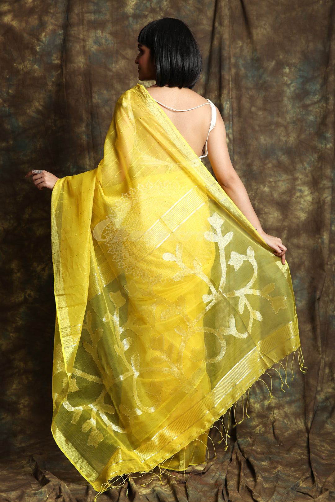 Yellow Resham Sequine Saree With Rich Pallu