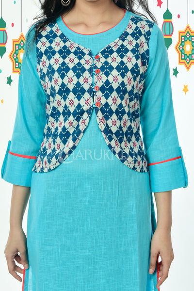 Sky Blue Pure Cotton Kurti with Navy Blue Embroidered Stitched Jacket