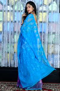 SKY BLUE AND TAFFY PINK JAMDANI WITH THREAD WEAVE