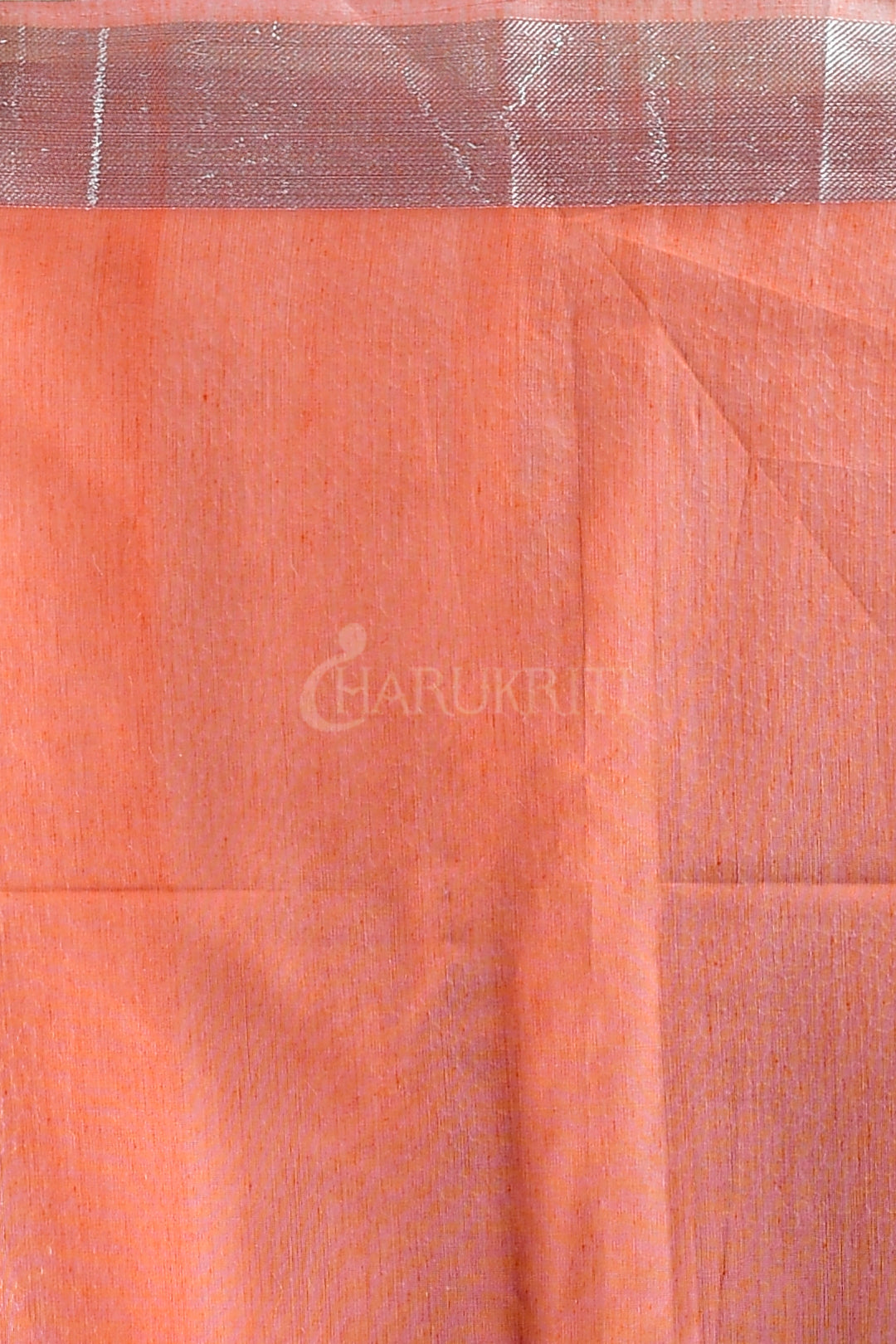 PEACH BLENDED TISSUE SAREE WITH SILVER THREAD WORK