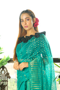 Teal Jamdani Saree With Zari Weaving