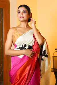 MAGENTA PURE SILK SAREE WITH WHITE FLORAL PRINTED PALLU AND ORANGE DYE BORDER