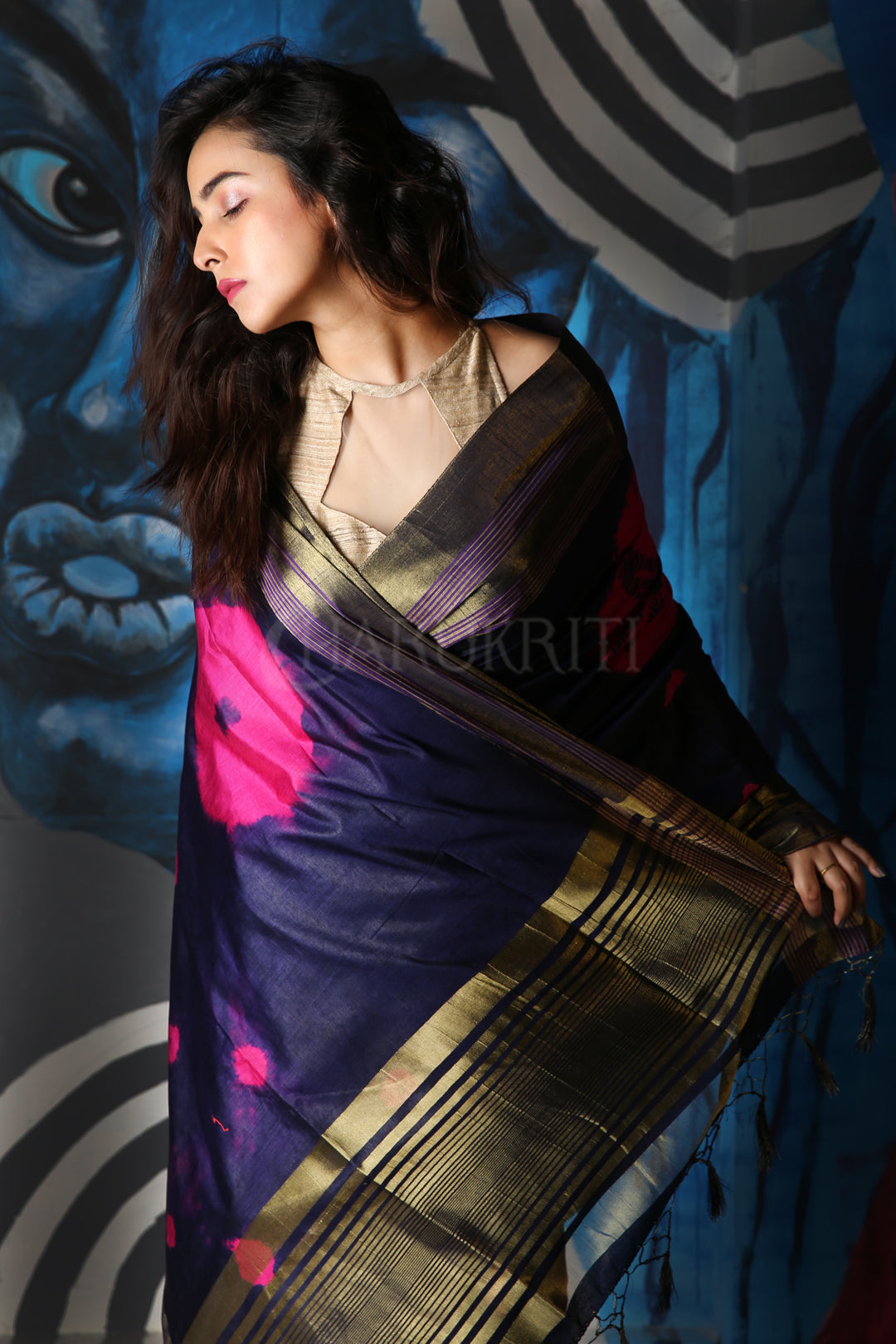 NAVY BLUE TIE & DYE BLENDED SILK SAREE WITH ZARI BORDER AND PALLU