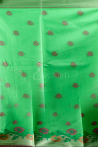 PARAKEET GREEN BLENDEDSILK  SAREE WITH WOVEN DESIGN