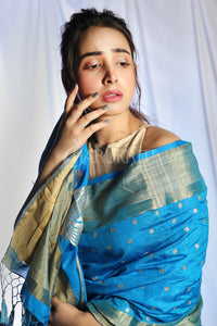 SKY BLUE DUPION SILK SAREE WITH ALLOVER SMALL BUTTA EMBROIDERY AND ZARI PALLU