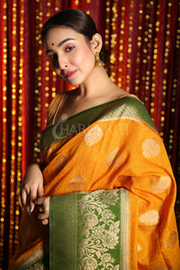 FIREY YELLOW AND PISTACHIO GREEN HALF & HALF BANARASI SAREE WITH BROCADE DESIGN