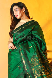 Sacramento Green Baluchuri Saree With Black Silk Thread Weaving - Charukriti.co.in