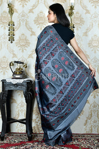 STEEL GREY BALUCHARI SAREE WITH FLOWER MOTIFS AND  PALLU